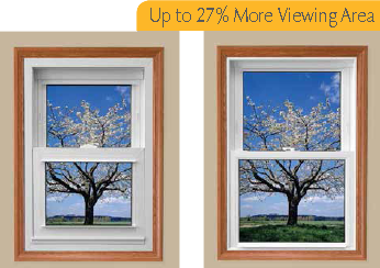 Sunrise Windows up to 27% more glass viewing area