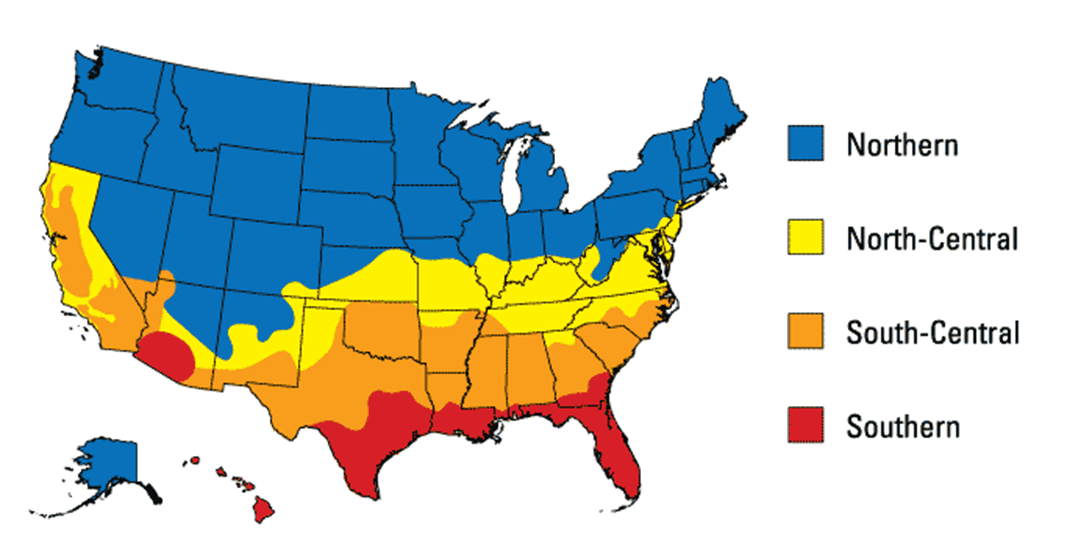 Energy star climate zone map of the united states